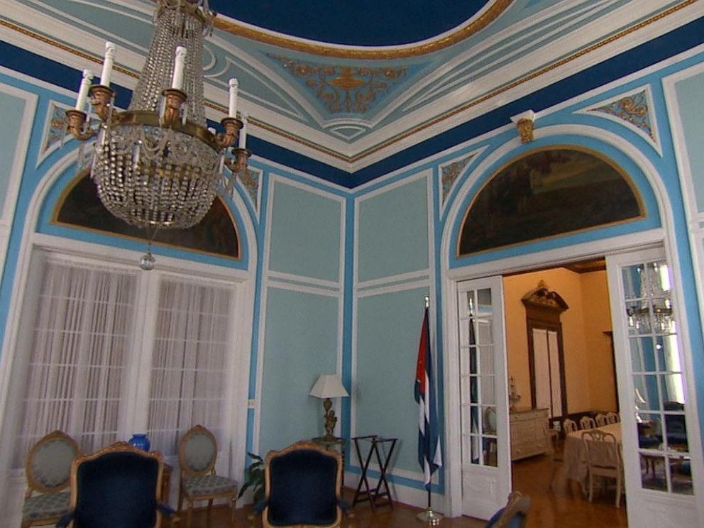 PHOTO: The formal sitting room, or the blue room as they refer to it, on the second floor is often used for meetings with other diplomats, scholars, and business people.