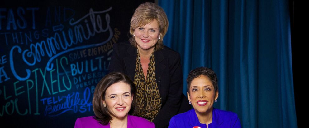 "PHOTO: ""Nightlines"" Cynthia McFadden interviews Facebook COO Sheryl Sandberg and CEO of Girl Scouts USA Anna Marie Chávez about their new public service campaign, ""Ban Bossy."""