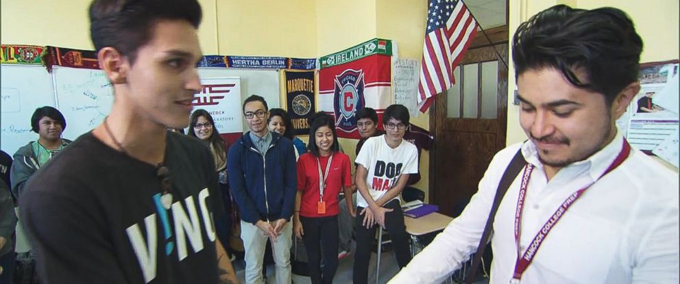 PHOTO: Chicago high school senior Daniel Luna and several other students awarded afterschool music teacher Gustavo Herrera $1,000 through the VING Project.