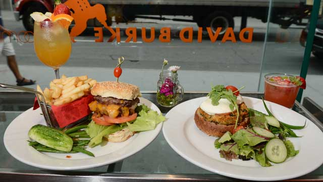 PHOTO: David Burke's Double Juicey Burkey and Veggie Burger are served at his Bloomingdale's location in New York City , July 25, 2012.