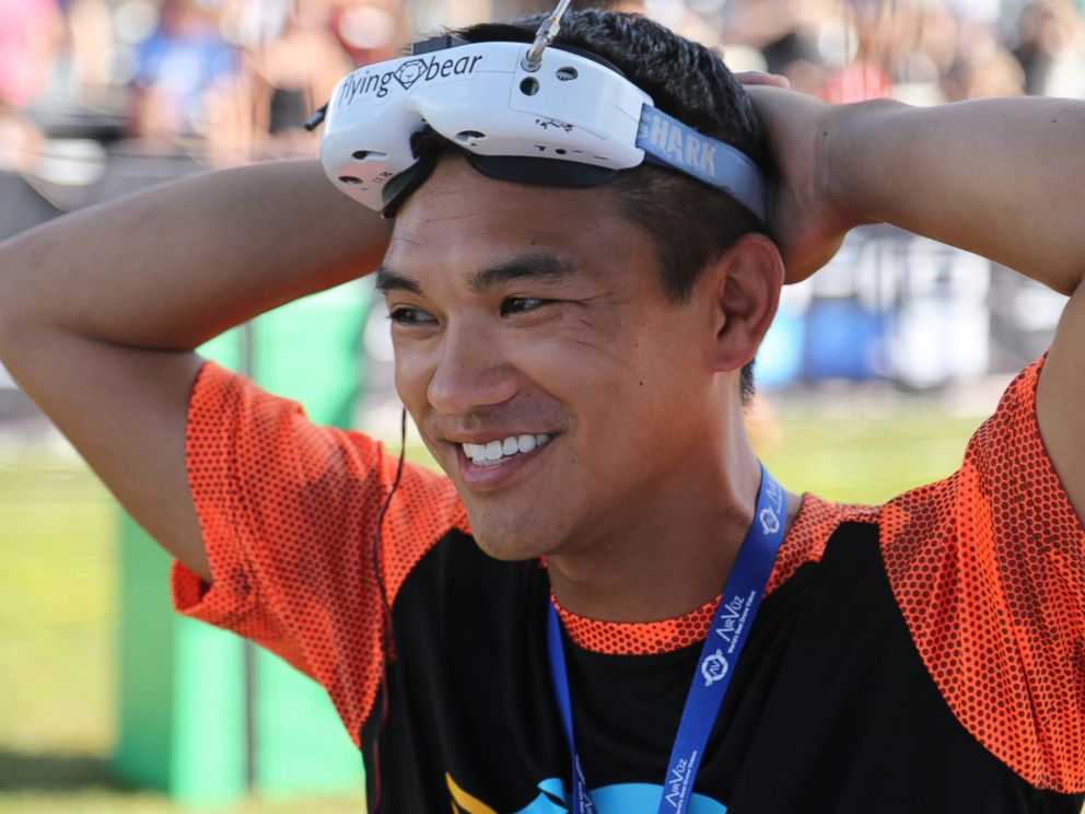 PHOTO: Ken Loo (pictured) from Sunnyvale, California, has been training for months to compete in the National Drone Racing Championships on Governors Island, Aug. 5, 2016 in New York.
