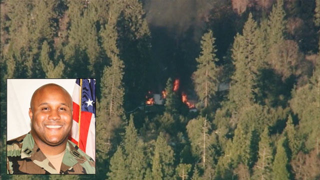 PHOTO: Flames from a fire in a cabin in Big Bear, Calif. can be seen in this overhead photo; ex-LAPD officer and fugitive Christopher Dorner is believed to have taken refuge in the cabin during a shoot-out with police on Feb. 12, 2013.