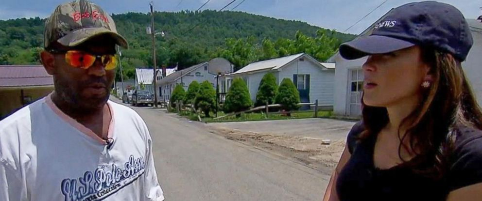 PHOTO: Michael Mitchem speaks to ABC News Eva Pilgrim on June 26, 2016 after significant flooding in West Virginia.