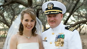 PHOTO Mark Kelly, shown on his wedding day with wife Gabrielle Gifford, opens up about his wifes recovery and the Tucson shooting that injured her and killed six people.