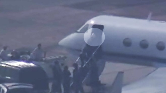 VIDEO: Rep. Gabrielle Giffords boards plane bound for Florida shuttle launch.