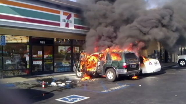PHOTO: A man was lit on fire by a panhandler outside a convenience store in Long Beach Friday afternoon.