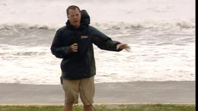 VIDEO: Steve Dorsey reports as Irene wreaks havoc on city beaches.
