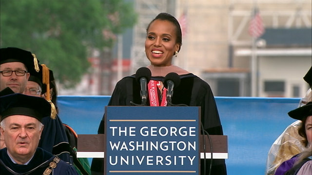 PHOTO: Kerry Washington returns to her alma mater to address graduates at the George Washington University's Commencement ceremony on the National Mall on May 19, 2013.