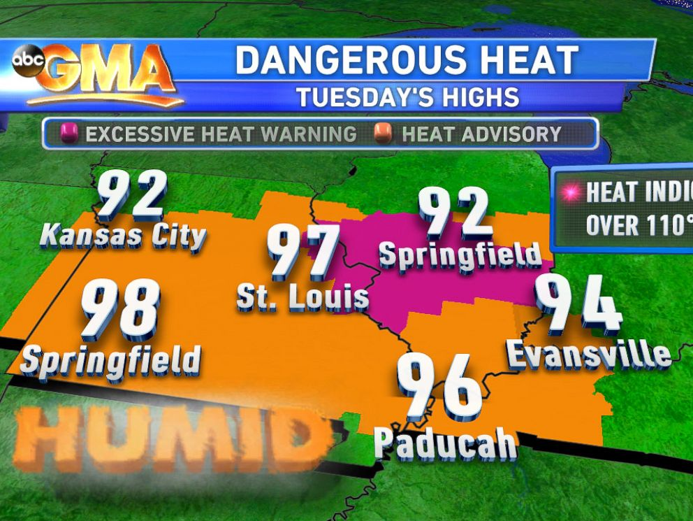 PHOTO: Heat Advisories: Heat advisories and excessive heat warnings in effect today for parts of 5 states.