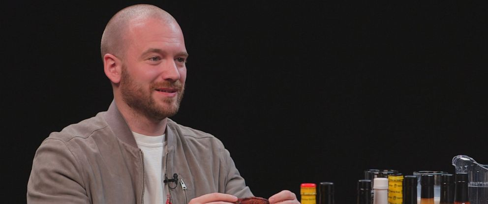 "PHOTO: ""Hot Ones"" host Sean Evans is seen here during an interview with ""Nightline."""