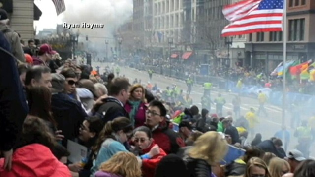 VIDEO: Ryan Hoyme captures the commotion in the viewing stands at Boston's annual marathon.
