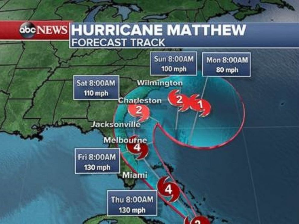 PHOTO: The latest track shows Hurricane Matthew nearing Floridas coast as a potential Category 4 hurricane by Friday morning before weakening to a Category 2 while approaching Charleston, South Carolina, on Saturday morning.