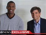 PHOTO:Washington Wizards center Jason Collins talks with ABC News? George Stephanopoulos on April 29, 2013, about his decision to come out as the first openly gay professional athlete in a major American team sport.