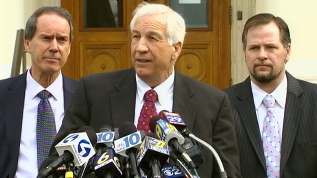PHOTO: Former Penn State assistant football coach Jerry Sandusky, speaks to the press at the Centre County Courthouse for a bail conditions hearing, Feb. 10, 2012 in Bellefonte, Pa.