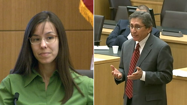 PHOTO: Jodi Arias and prosecutor Juan Martinez in court during her trial for the murder of her boyfriend, Feb. 27, 2013, in Phoenix.