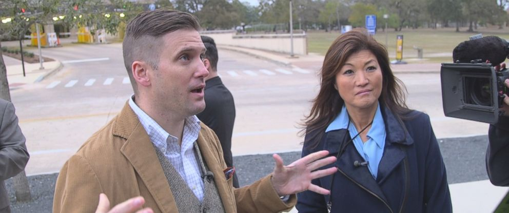"""""""Nightline"""" co-anchor Juju Chang (right) interviews Richard Spencer (left) in a piece for ABC News """"Nightline."""""""