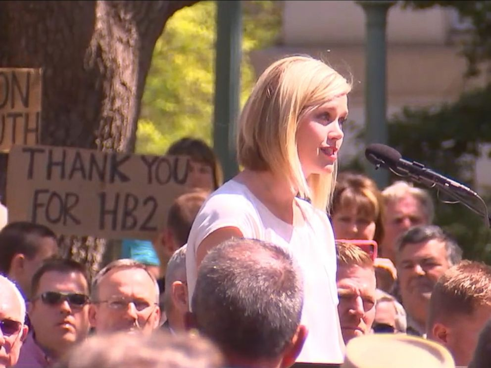 PHOTO: Kami Mueller of the North Carolina Values Coalition said to a cheering crowd she is thankful for the governor and the leaders of the state for standing up, April 11, 2016.