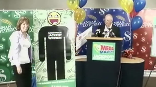 PHOTO: The Mega Millions winner in Kansas as stepped forward to claim the prize on April 6, 2012.