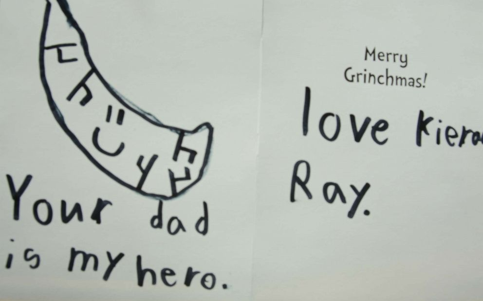 Kieran Ray made a Christmas card for the children of his moms liver donor. He drew a picture of a liver with a smiley face and wrote, Your dad is my hero.