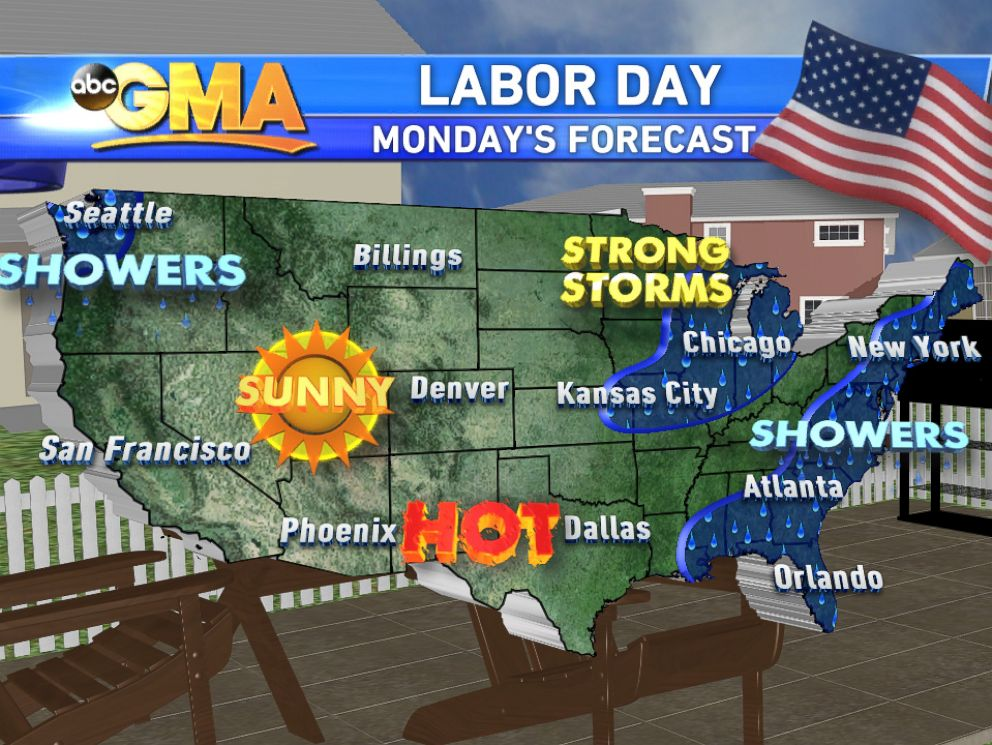 PHOTO: The Labor Day forecast calls for showers in the Eastern states.