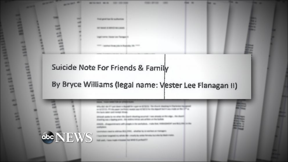 Vester Lee Flanagan II, the suspect in the Virginia shootings of a news reporter and cameraman, faxed a 23-page document to ABC News.