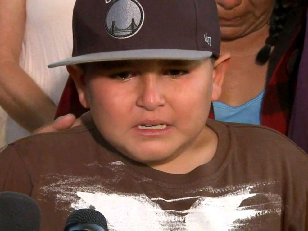 PHOTO: Vincent Valenzuela, 9, said in a news conference that he really wished his father could be with him after his father was put into a medically-induced coma following an altercation with police in Anaheim, California, on July 2, 2016.