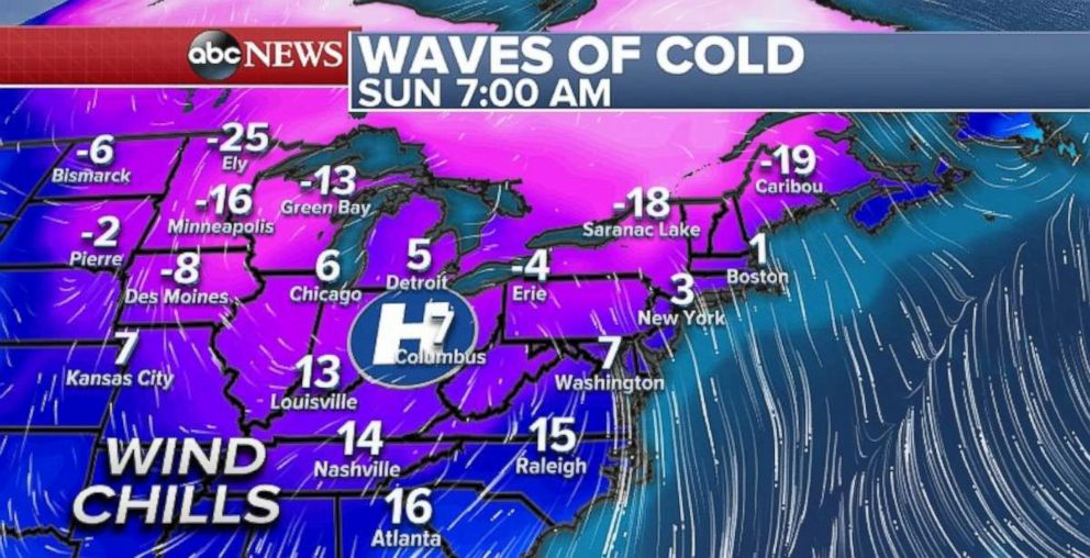 PHOTO: Its going to be a chilly Sunday for most of the Eastern U.S.