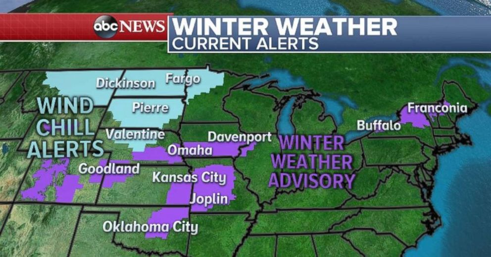 PHOTO: There are winter weather advisories for parts of the Plains and Midwest.