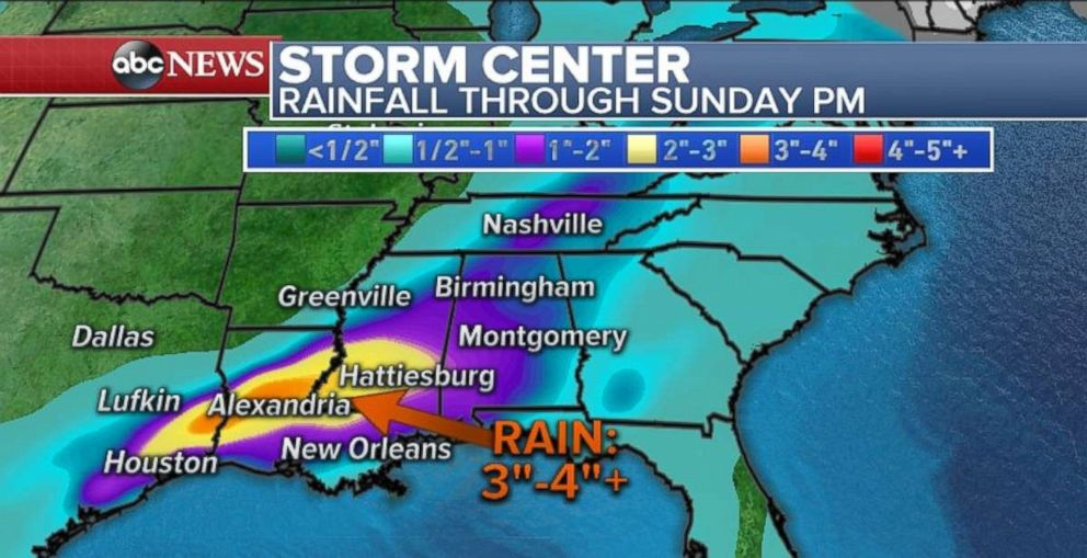 PHOTO: The Gulf Coast can expect between three and four inches of rain through Sunday night.