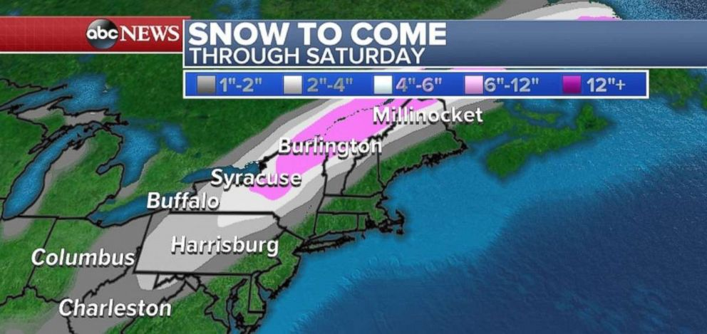 PHOTO: Snow is heading toward the Northeast on Saturday.