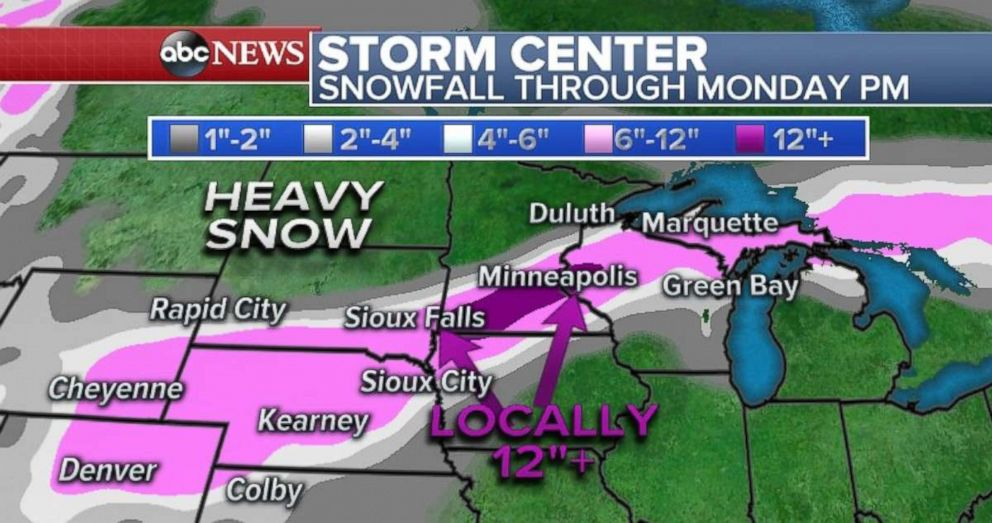 PHOTO: Heavy snow is expected in the central Plain.