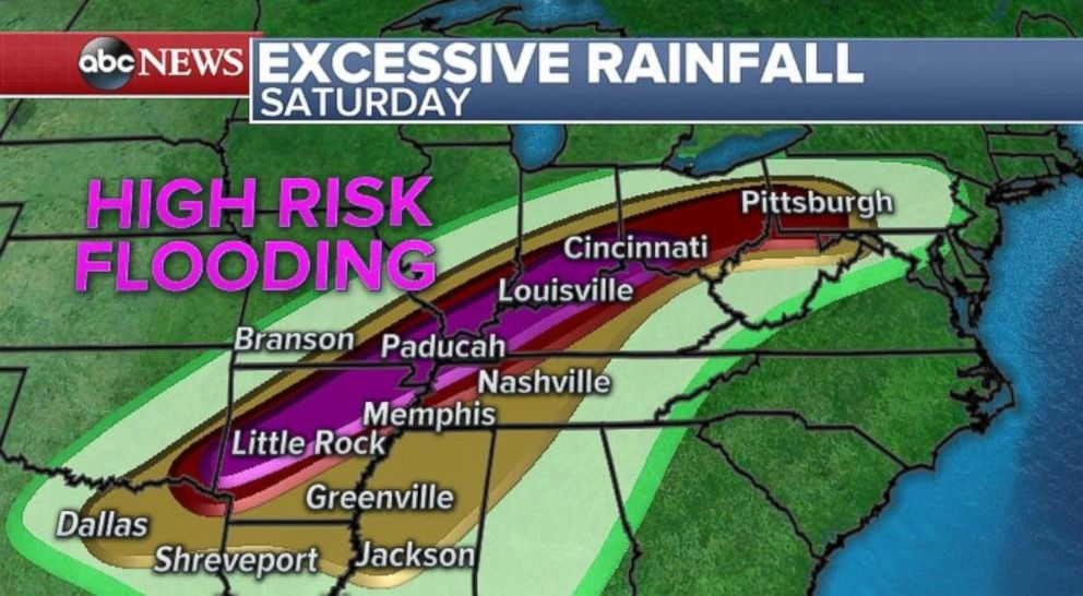 PHOTO: Theres a high risk of flooding in parts of Arkansas, Kentucky and Ohio.