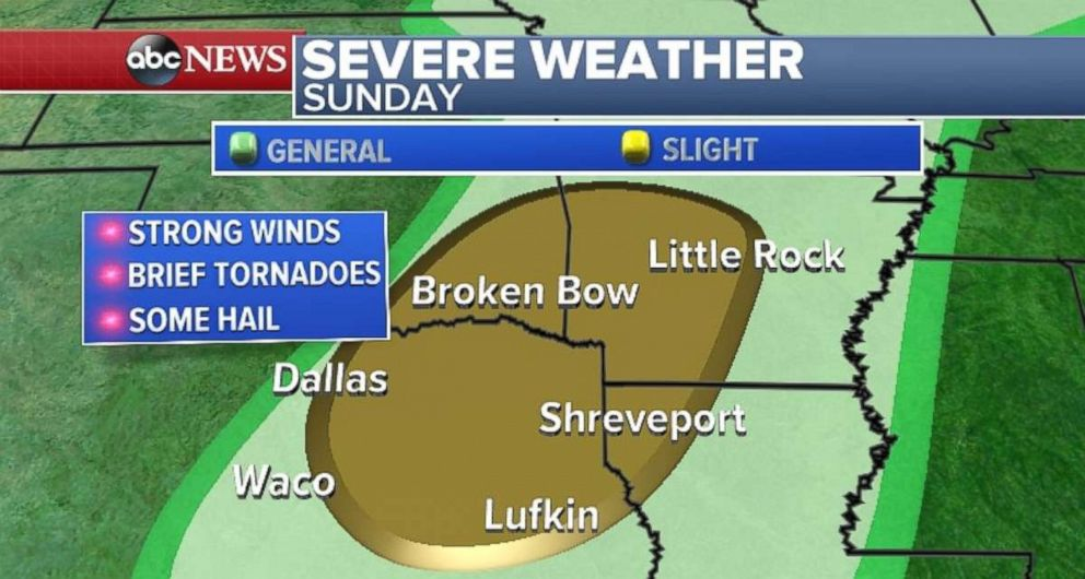 PHOTO: Severe weather is expected in parts of Texas, Arkansas and Louisiana.