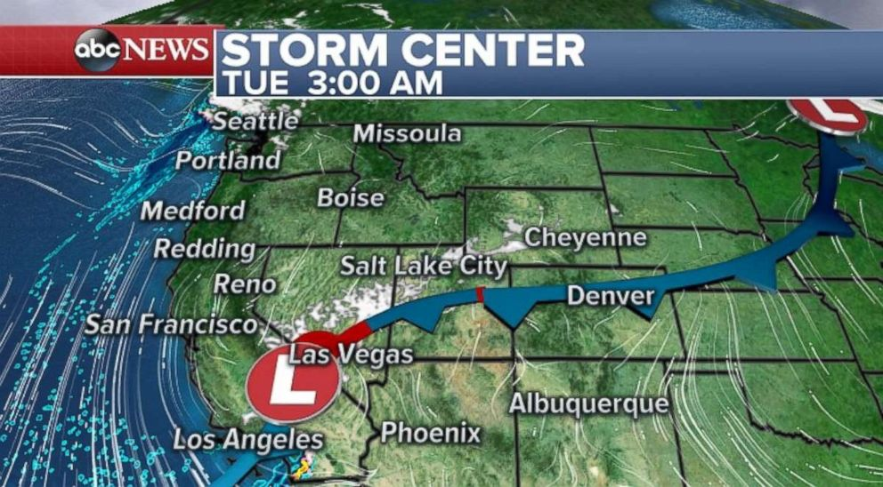 PHOTO: The weather will be stormy in parts of the West through Tuesday.