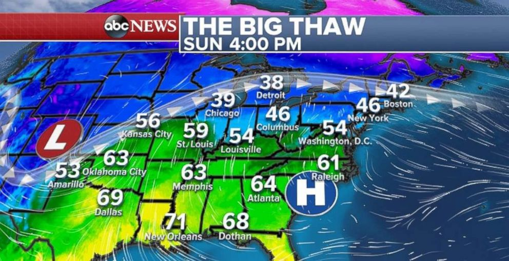 PHOTO: Temperatures across the Eastern U.S. will increase Sunday.