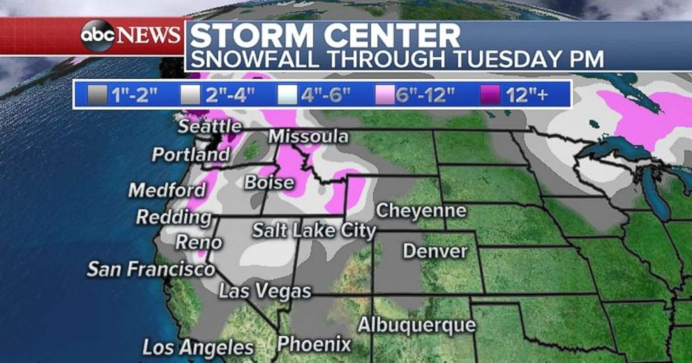 PHOTO: Many western states will experience snowfall through Tuesday.