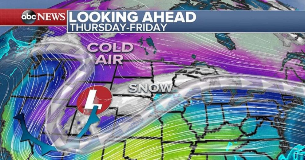 PHOTO: The north-central part of the U.S. will experience cold air and snow later this week.