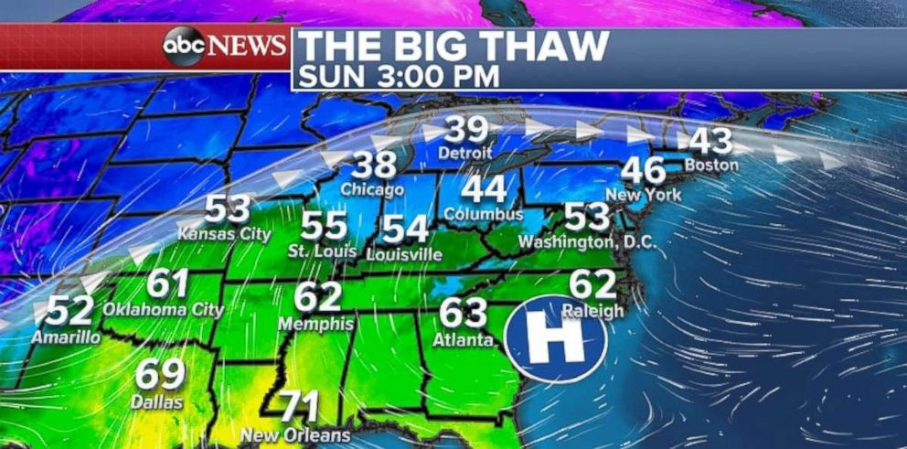 PHOTO: Above-average temperatures are expected in the Eastern U.S. on Sunday.