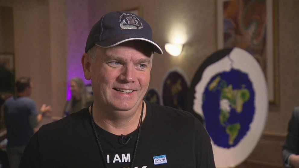 Mark Sargent is seen here during a Nightline interview at the Flat Earth International Conference in Raleigh, North Carolina.