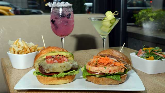 PHOTO: The Southwestern Burger and Salmon Burger are served at Marx restaurant, New York City, July 20, 2012.
