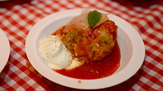 PHOTO: Casanonna served their special Meatball during the Wine and Food Festival's Meatball Madness, New York City, Oct. 12, 2012.