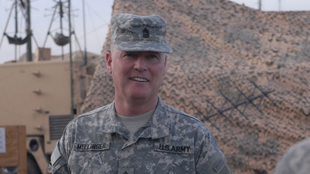 PHOTO: Command Sgt. Maj. Jeffrey Mellinger is the only active duty army soldier that was drafted and is still serving. At 58, he is now about to retire.