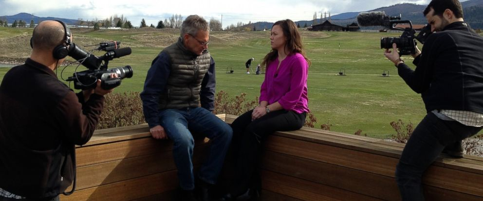 "Jon Krakauer, investigative journalist and author of ""Missoula: Rape and the Justice System in a College Town,"" shown here with Allison Huguet, one of the victims profiled in his new book, during an interview with ""Nightline."""