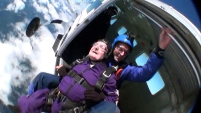 PHOTO: Monty Montgomery, in purple, went skydiving with family members for his eighty-seventh birthday in Tacoma, Wash.