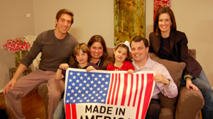 PHOTO ABC?s David Muir and Sharyn Alfonsi sit with the Usry family in their Dallas, Texas home, which was refitted with American-made goods.