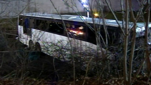 PHOTO: A luxury bus careened into an embankment on the New Jersey Turnpike.