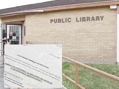 Video: Texas man jailed for unpaid library fine.