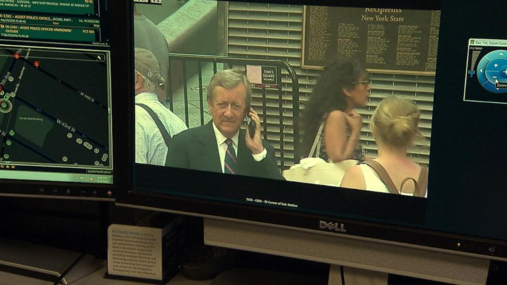 ABC News' Chief Investigative Correspondent Brian Ross caught on surveillance cameras in New York City's Times Square.