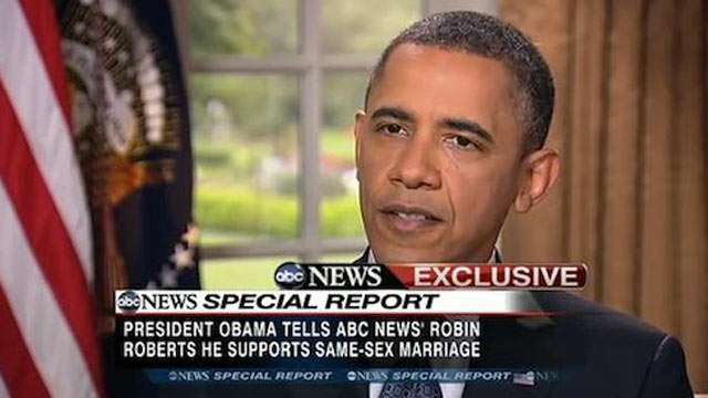 PHOTO: President Barack Obama became the first president to endorse same-sex marriage in a television interview with ABC anchor Robin Roberts, May 9, 2012.