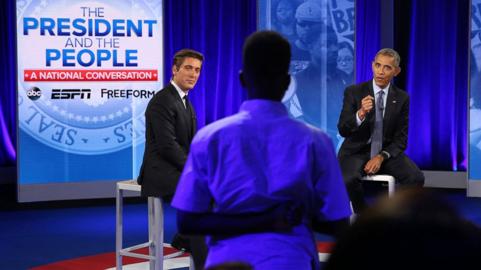 President Obama answers a question from Jermar Taylor during a televised town hall moderated by ABC's David Muir. With the nation on edge in the immediate aftermath of horrific events in Baton Rouge, Minneapolis and Dallas, Disney Media Networks hosts a landmark town hall discussion with President Barack Obama and Americans who have been directly affected by recent events. World News Tonight Anchor David Muir moderates the conversation about race relations, justice, policing and equality in Washington, D.C, July 14, 2016.